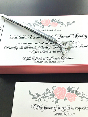 Faux Bling Diamond Pen - Journal - Wedding Guest Book - Gift