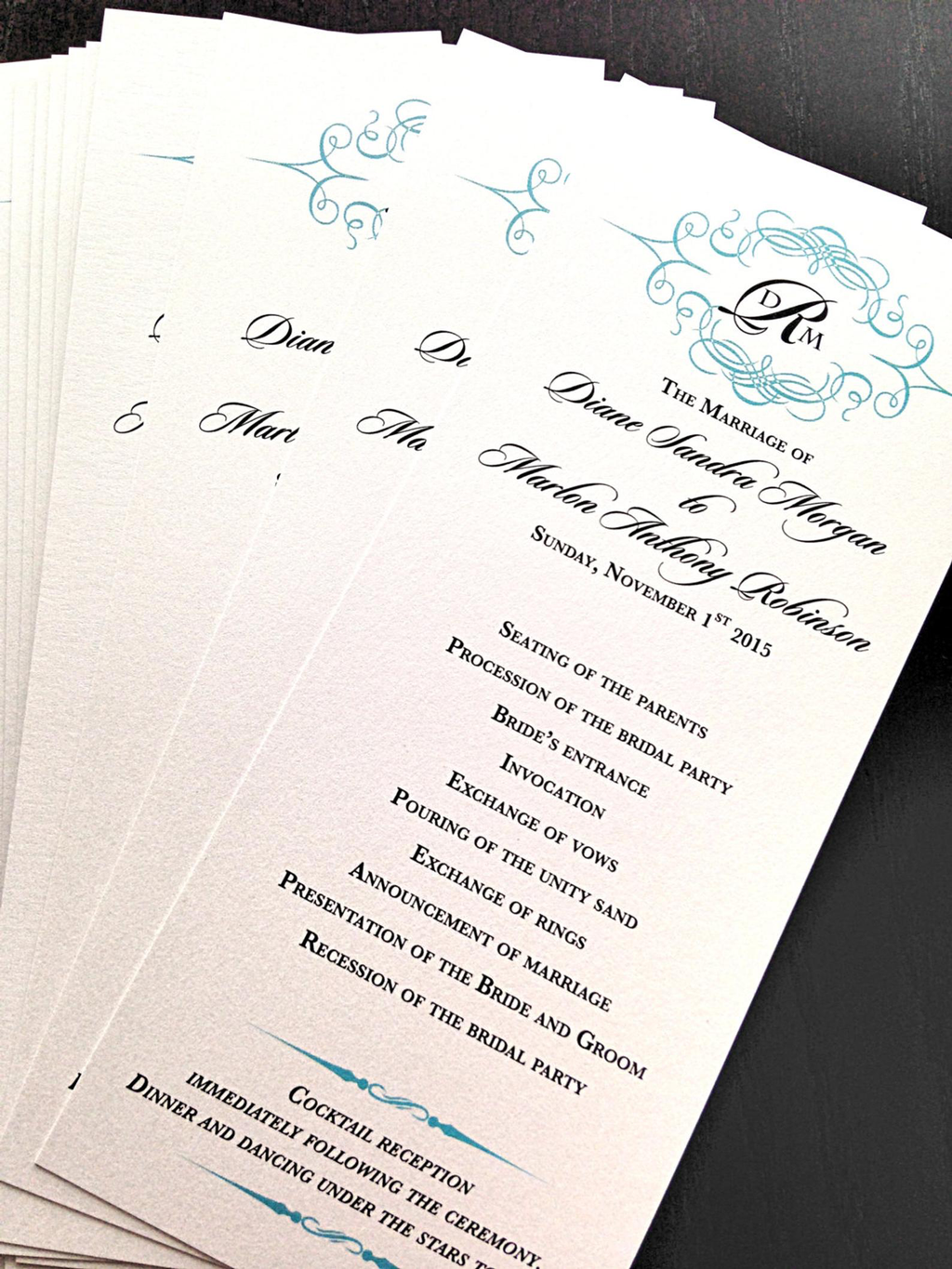 Tiffany blue wedding programs