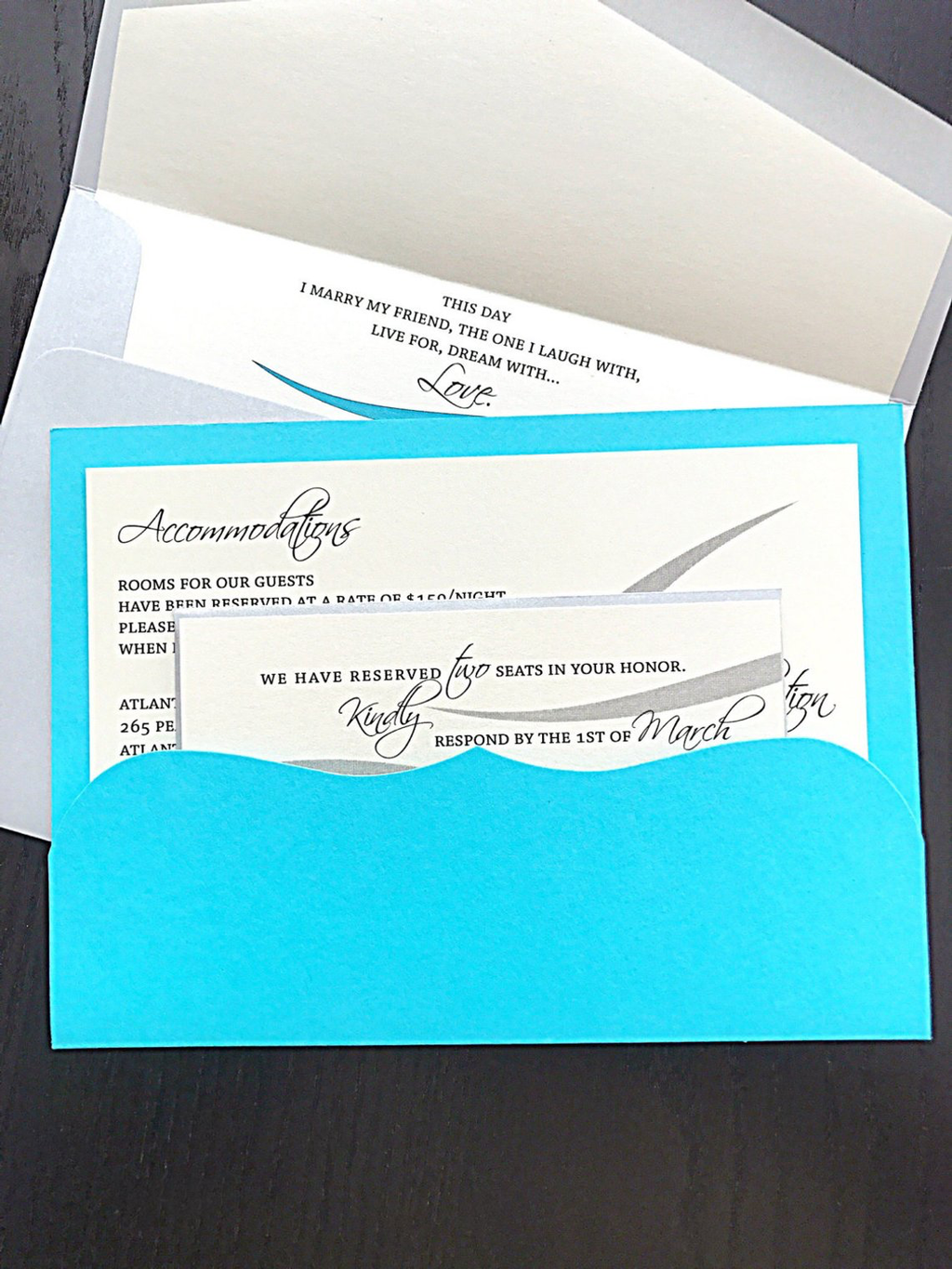 Pool Blue wedding invitation