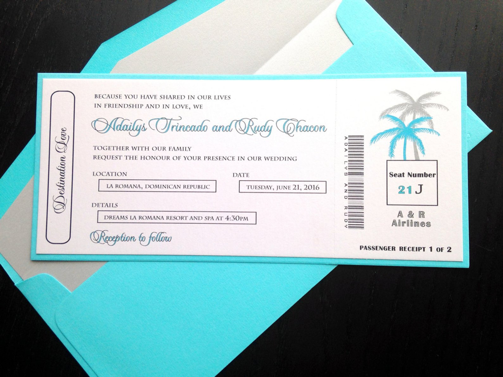 Boarding Ticket Wedding Invite Destination Wedding Invite