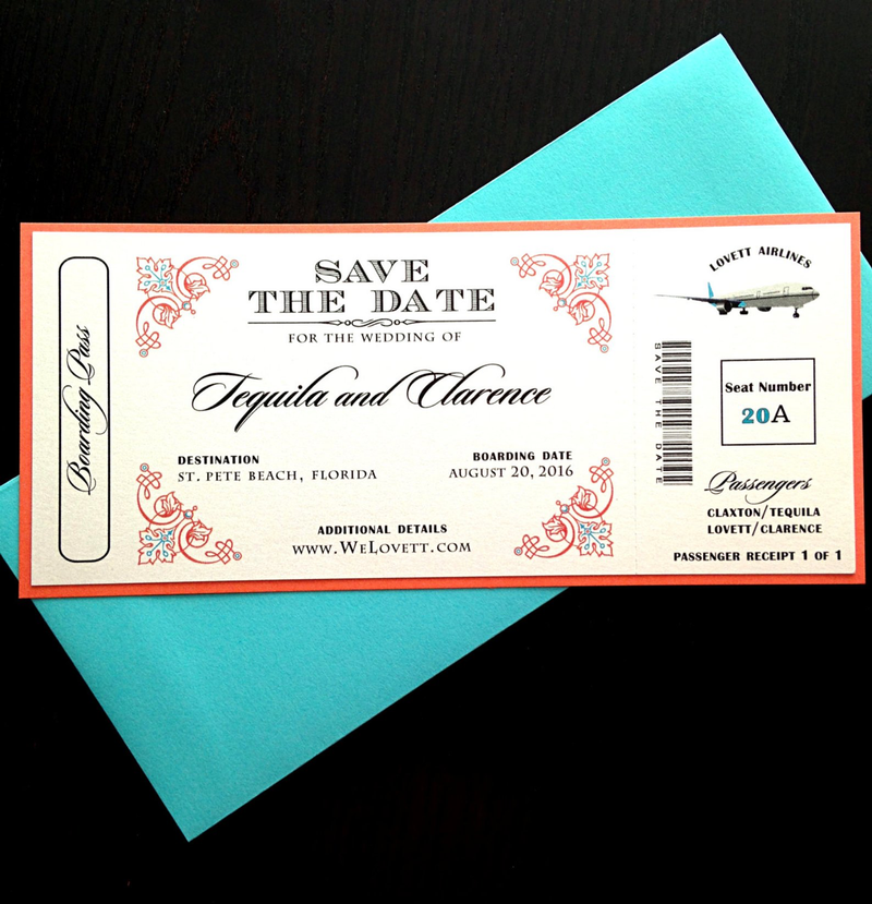 Airline Ticket Wedding Invite - Destination Wedding Invite