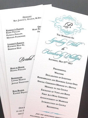 Wedding ceremony programs