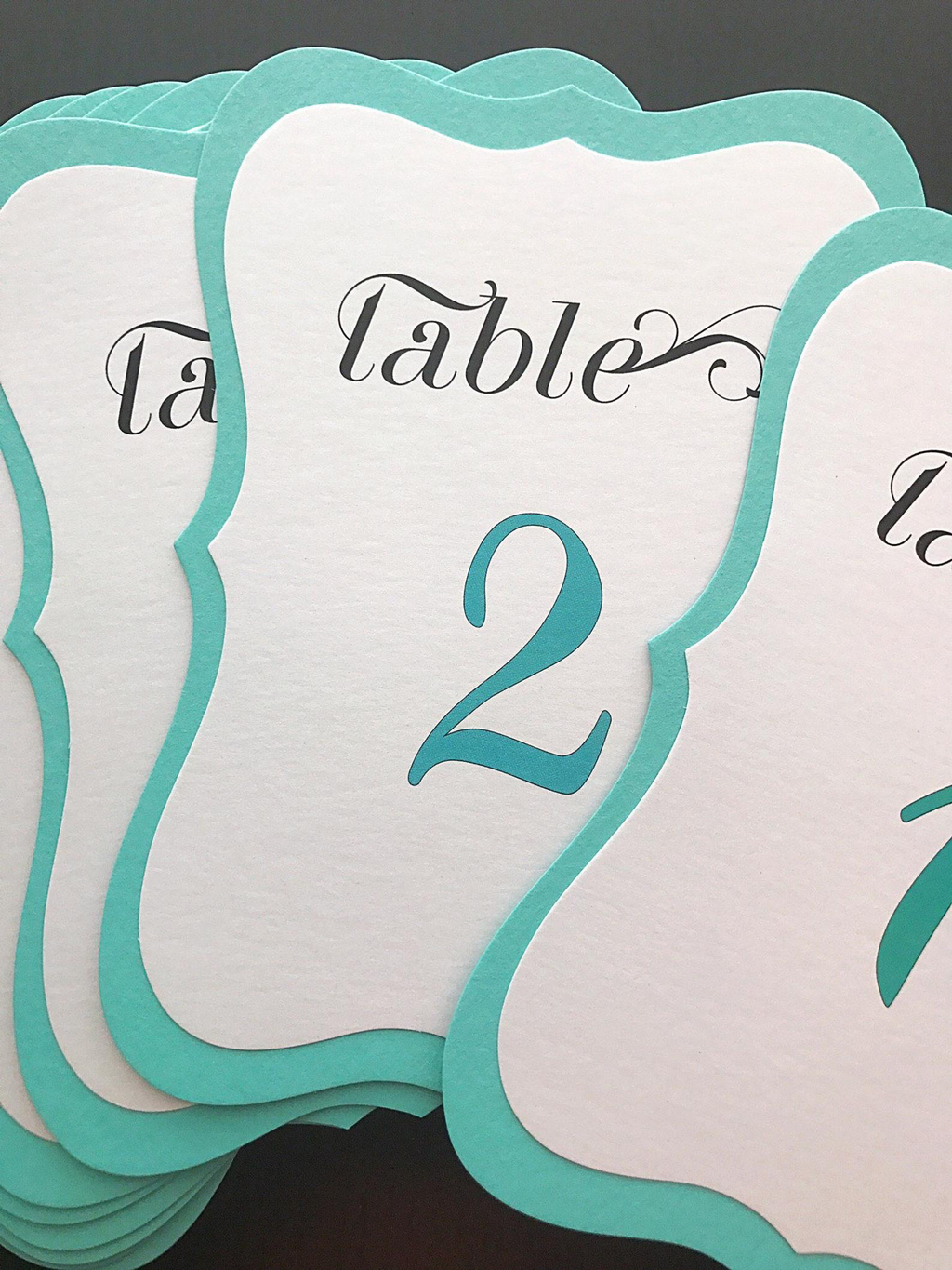 Tiffany Blue Table Numbers