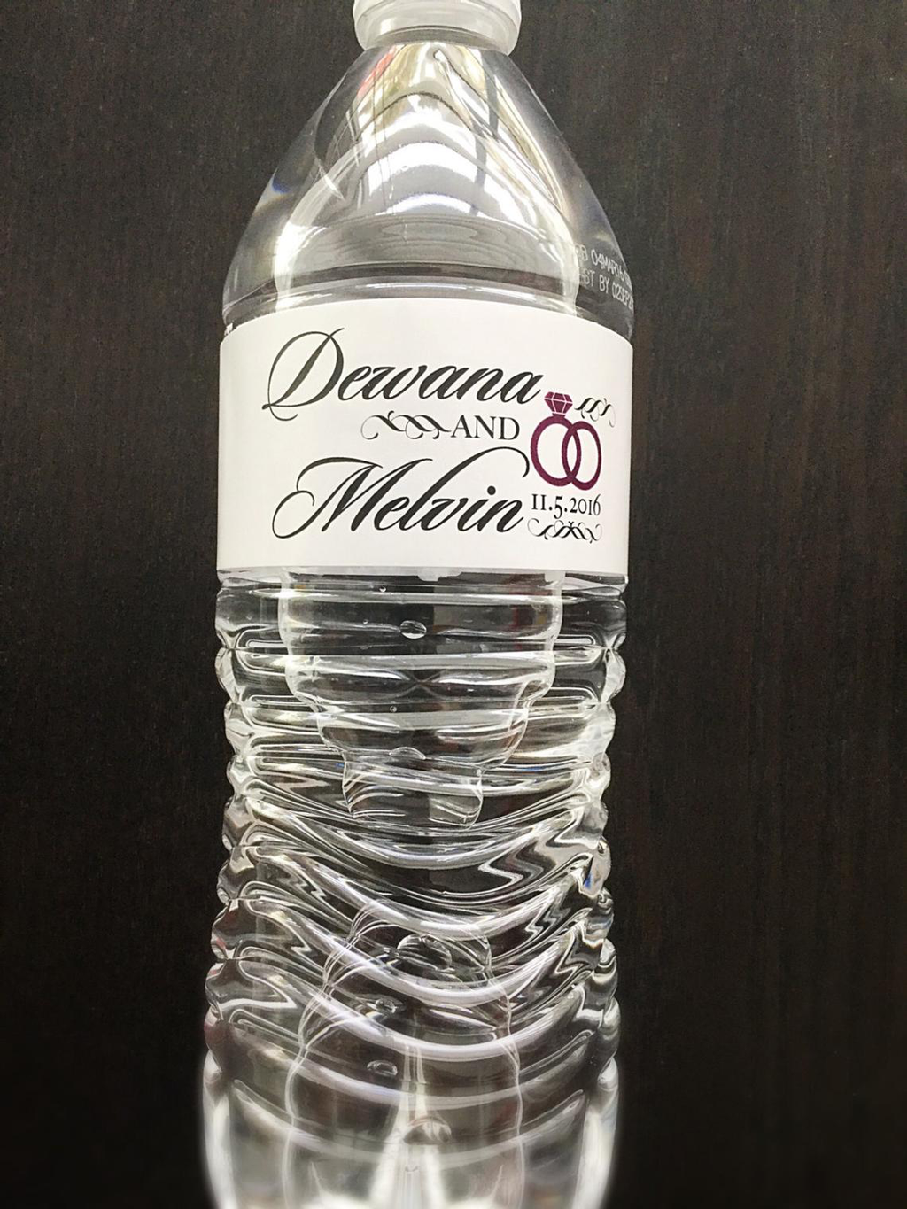 Personalized Water Bottle Labels - Wedding Rings