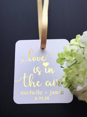 Hanging tags for wedding favors or welcome bags