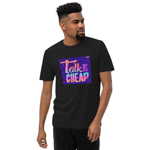 TALK IS CHEAP by artist The Monks - Unisex Recycled T-shirt
