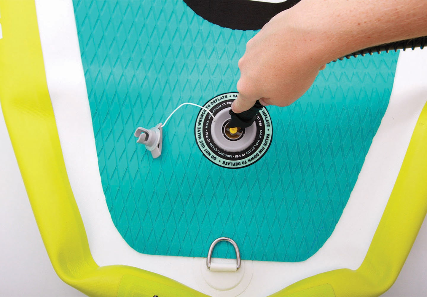 Before you start inflating, be sure that the valve's yellow pin is in the upright position.