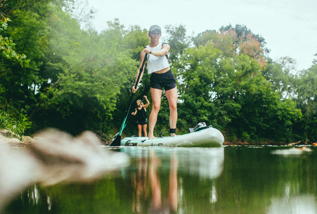 BOTE inflatable paddle boards paddled in river of the Nashville, Tennessee hills