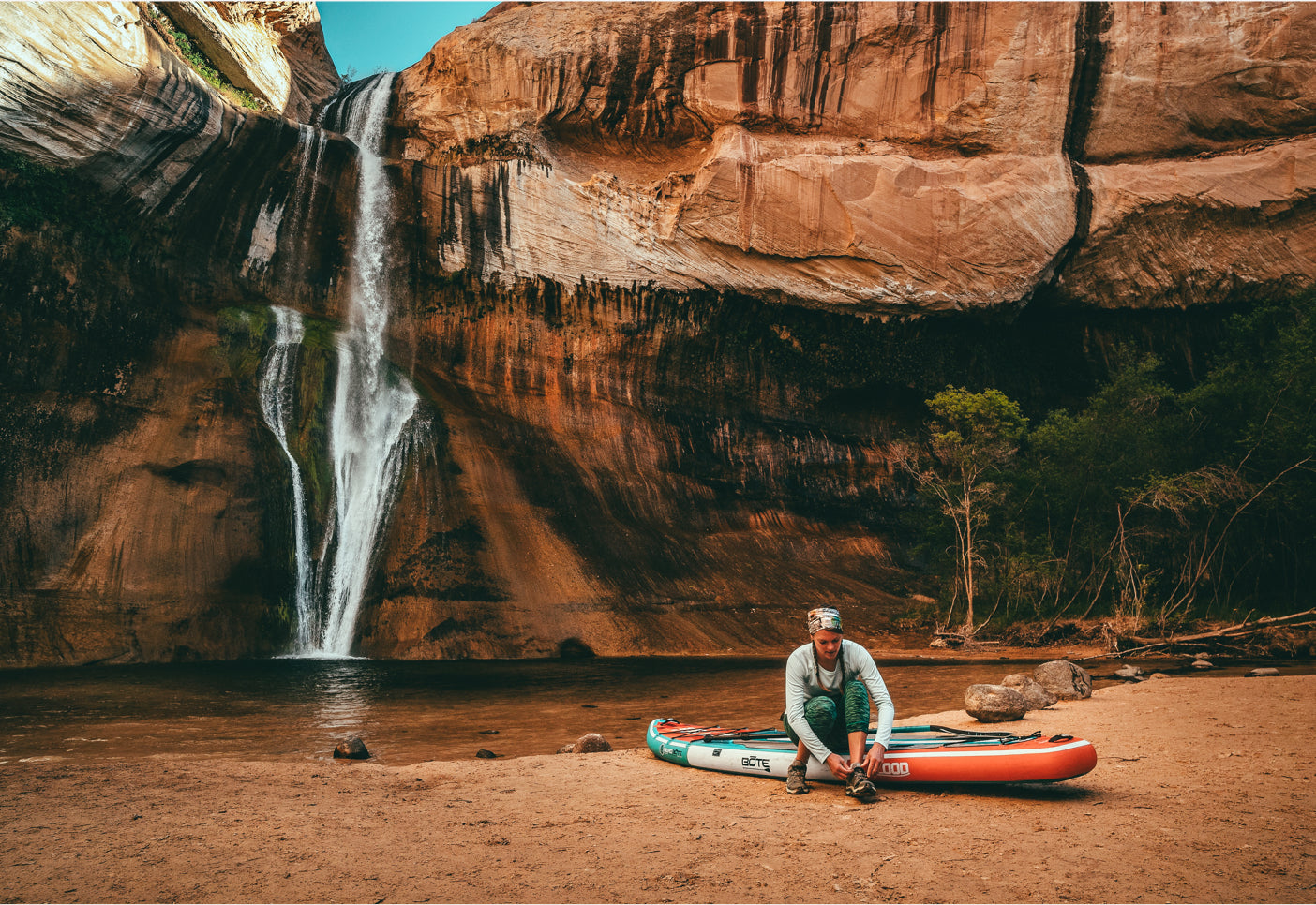 Hidden waterfall of Antelope Canyon, Arizona. Flood Aero inflatable paddle board.