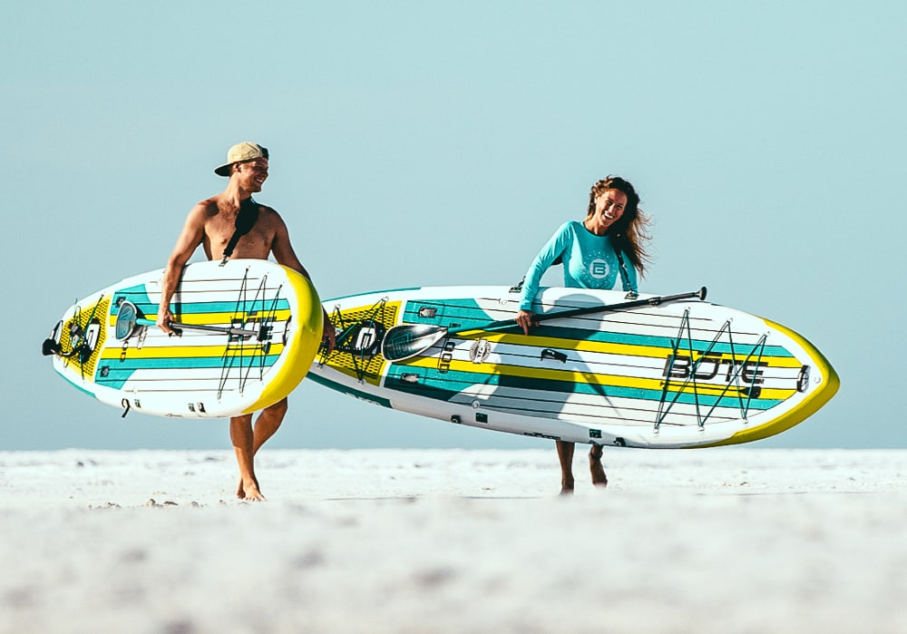 Inflatable Paddle Boards support more weight and feel more stable than Gatorshell and Epoxy paddle boards.