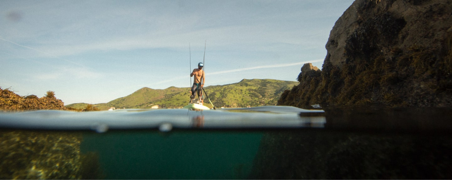 HD Aero Inflatable Paddle Board decked out for fishing