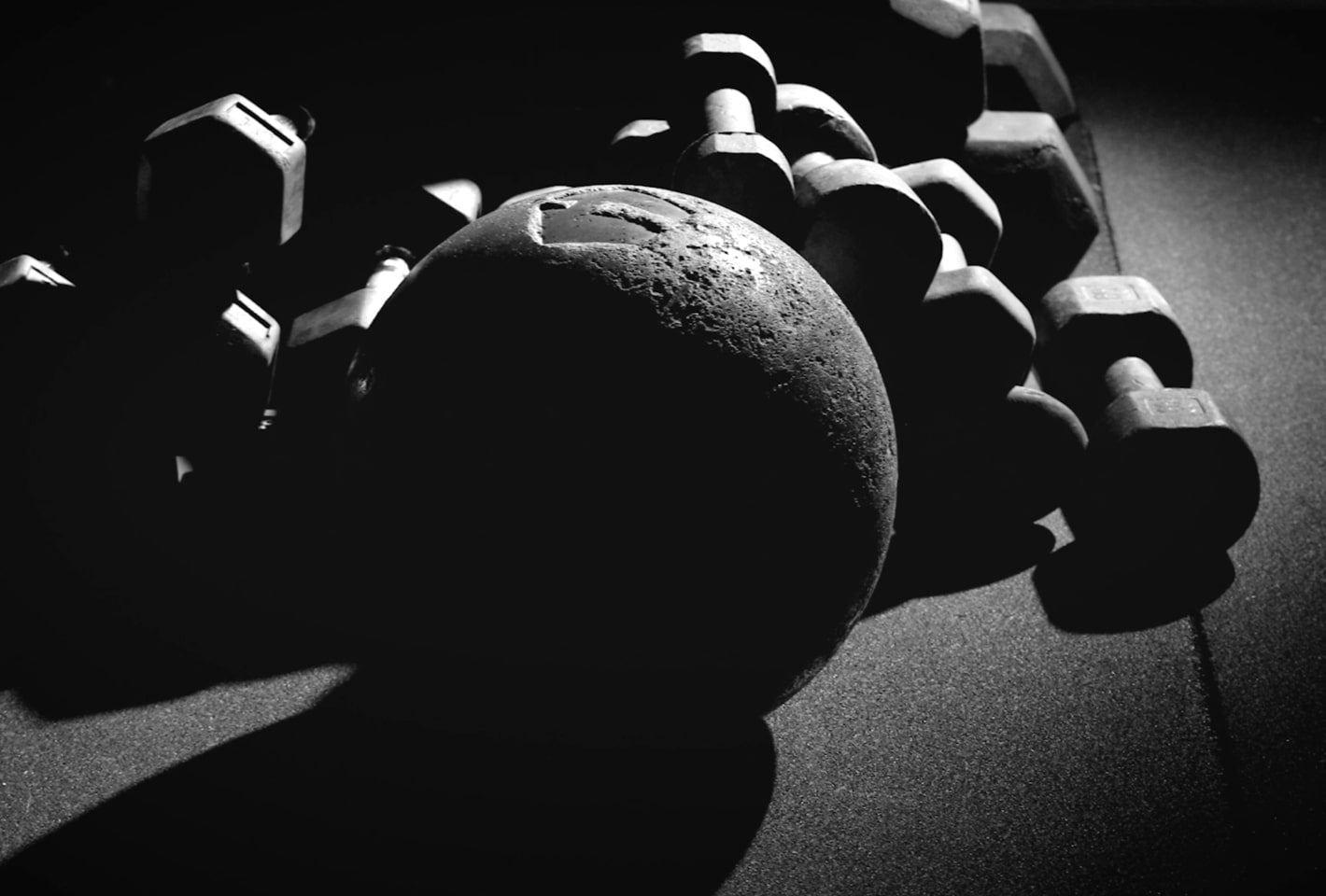 Medicine ball and dumbbells