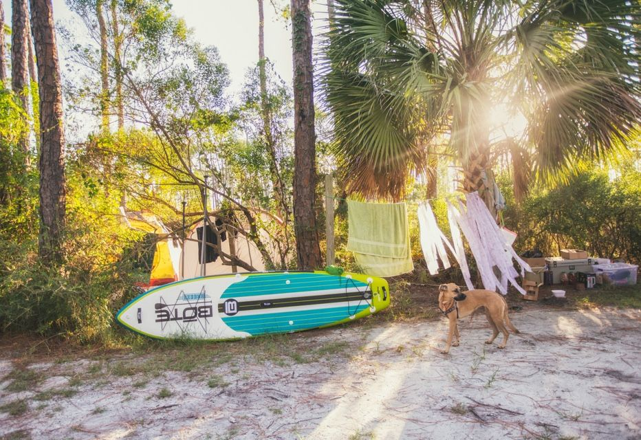 campsite with BOTE inflatable paddle board and dog