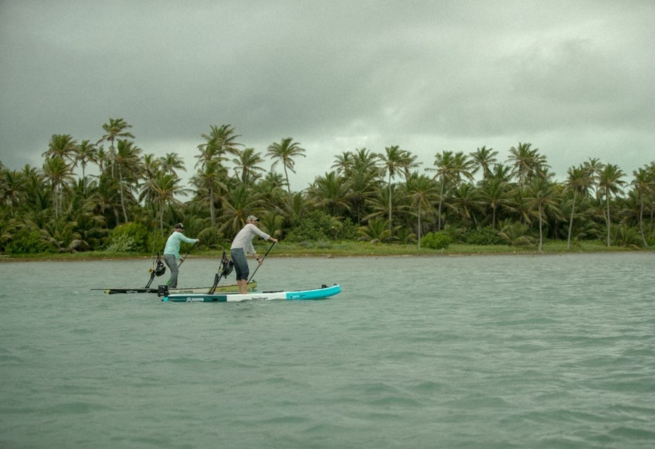 Corey Cooper and Rob McAbee paddling Belize with BOTE inflatable paddle boards