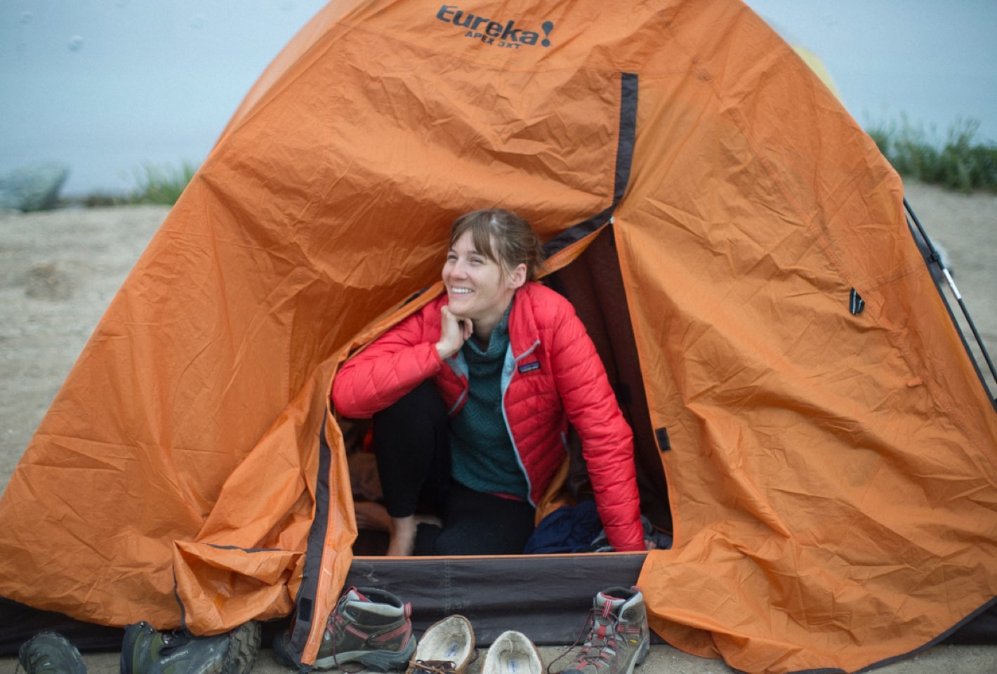 Raphye hanging out in the tent
