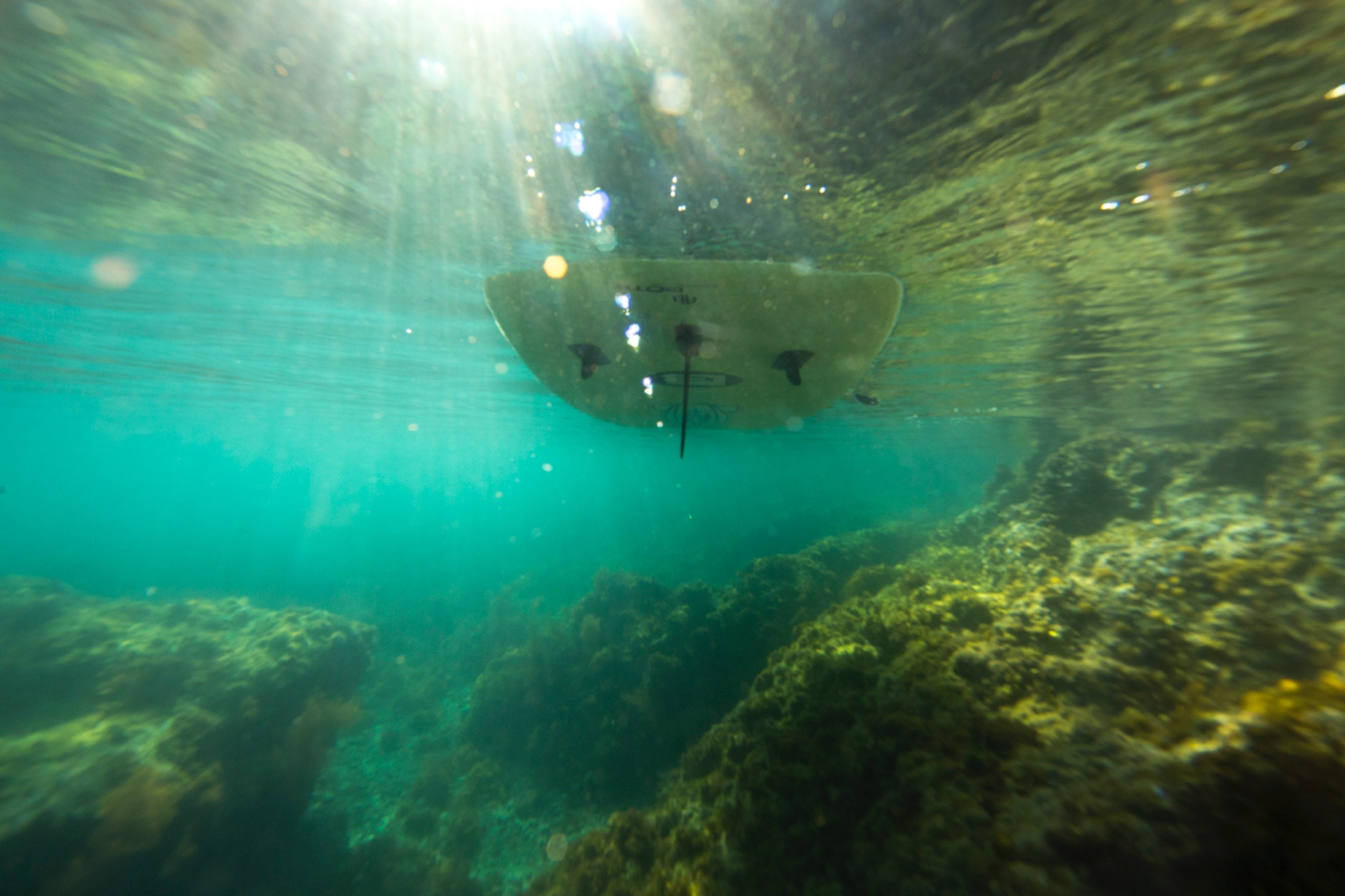 BOTE inflatable paddle board view from under water