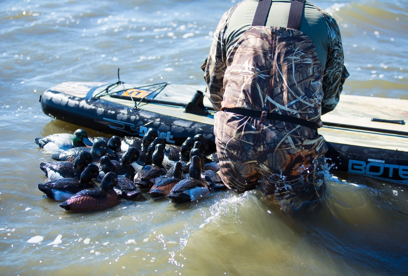 duck hunting on BOTE inflatable paddle board with decoys