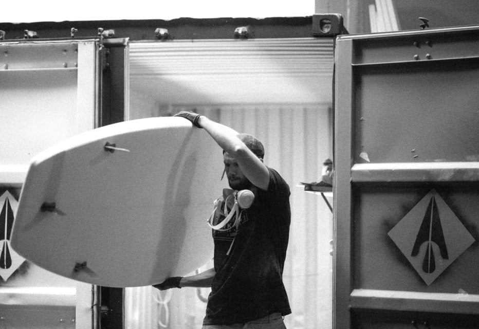 Shaped paddle board coming out of the Darkroom