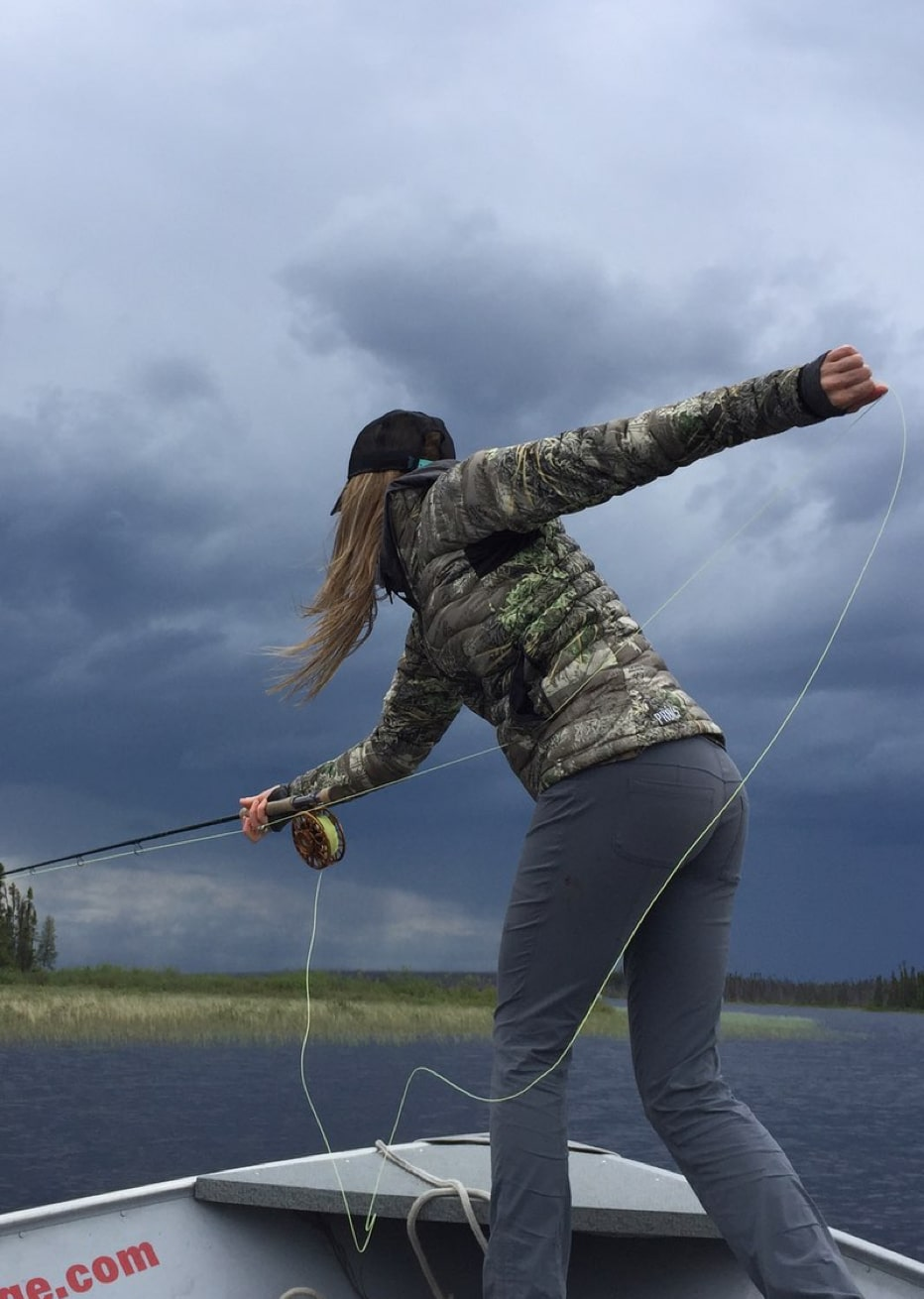 Seasoned angler, Rebekka Redd casting her line