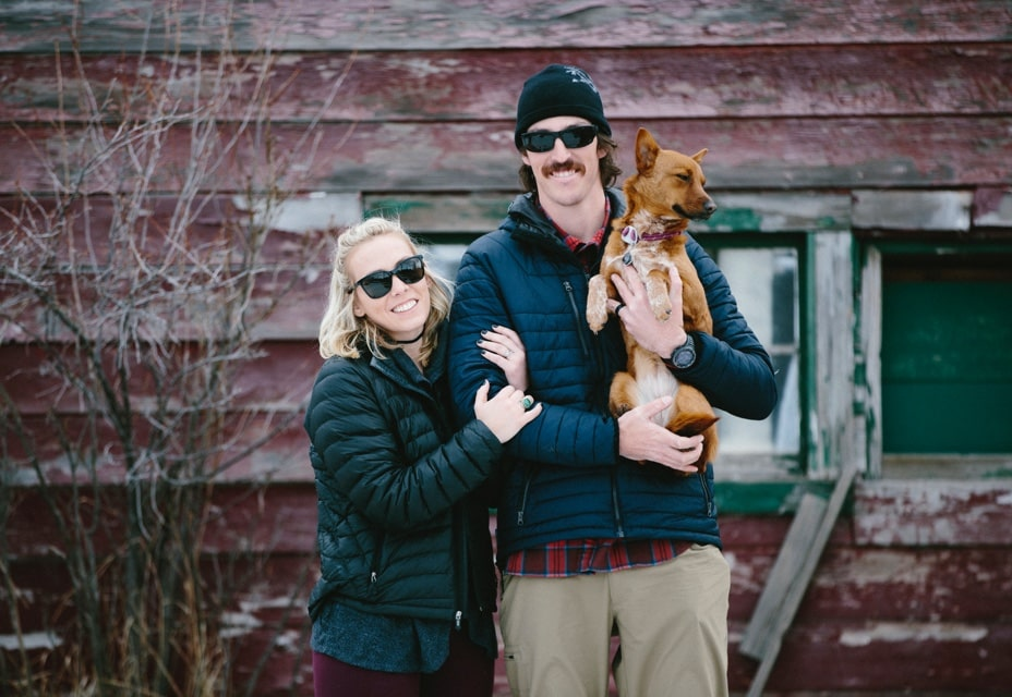 Landon, his wife Kelsey, and their dog