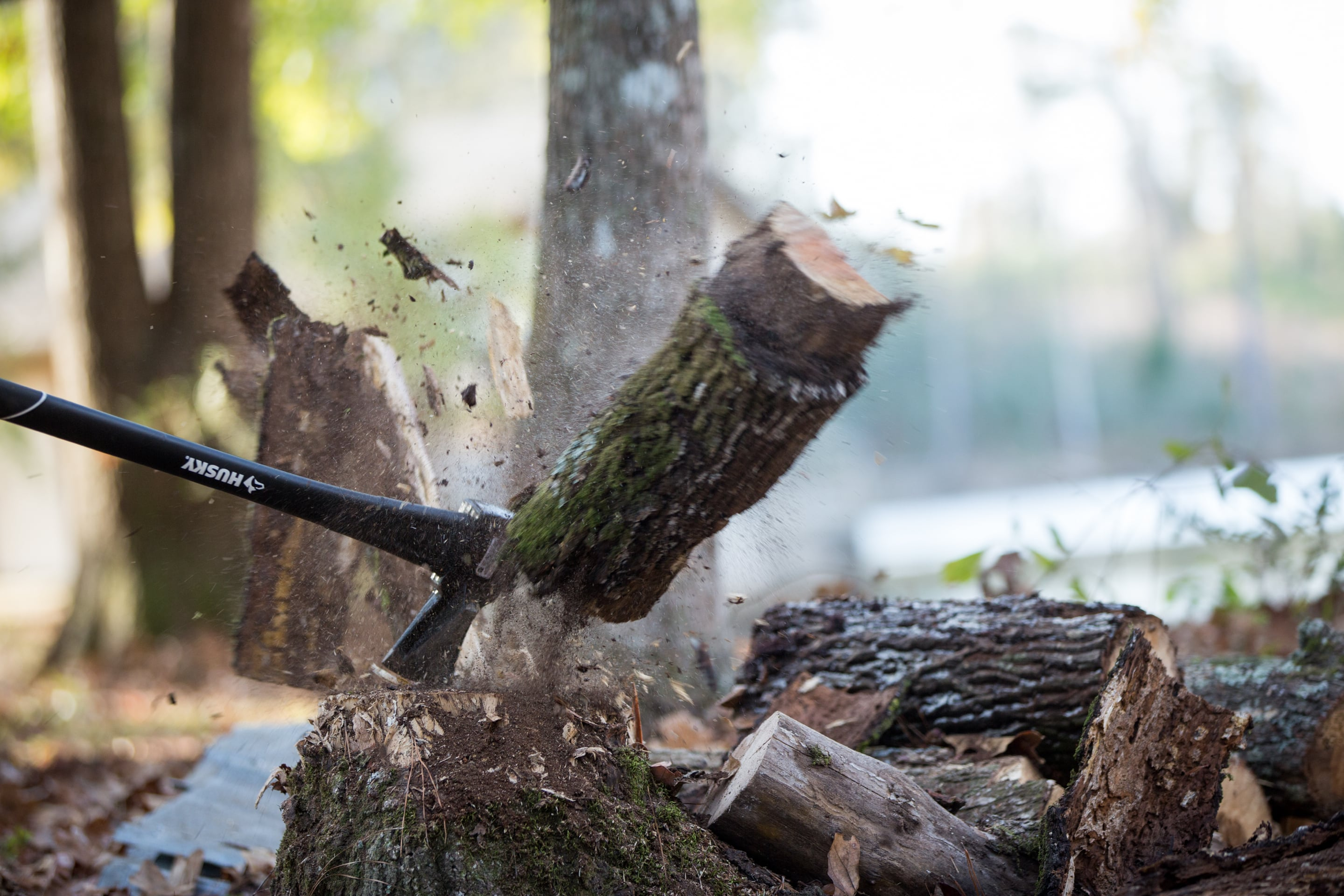 Chopping wood with Husky axe