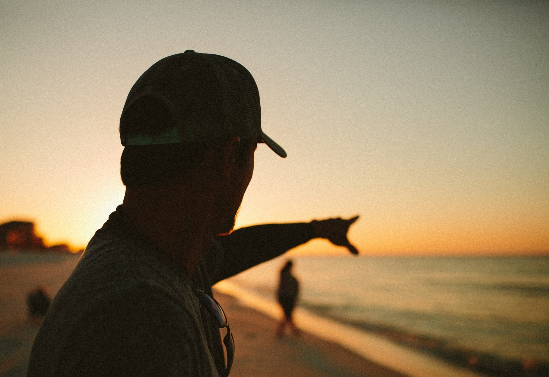 Harry pointing on Beach at Sunset
