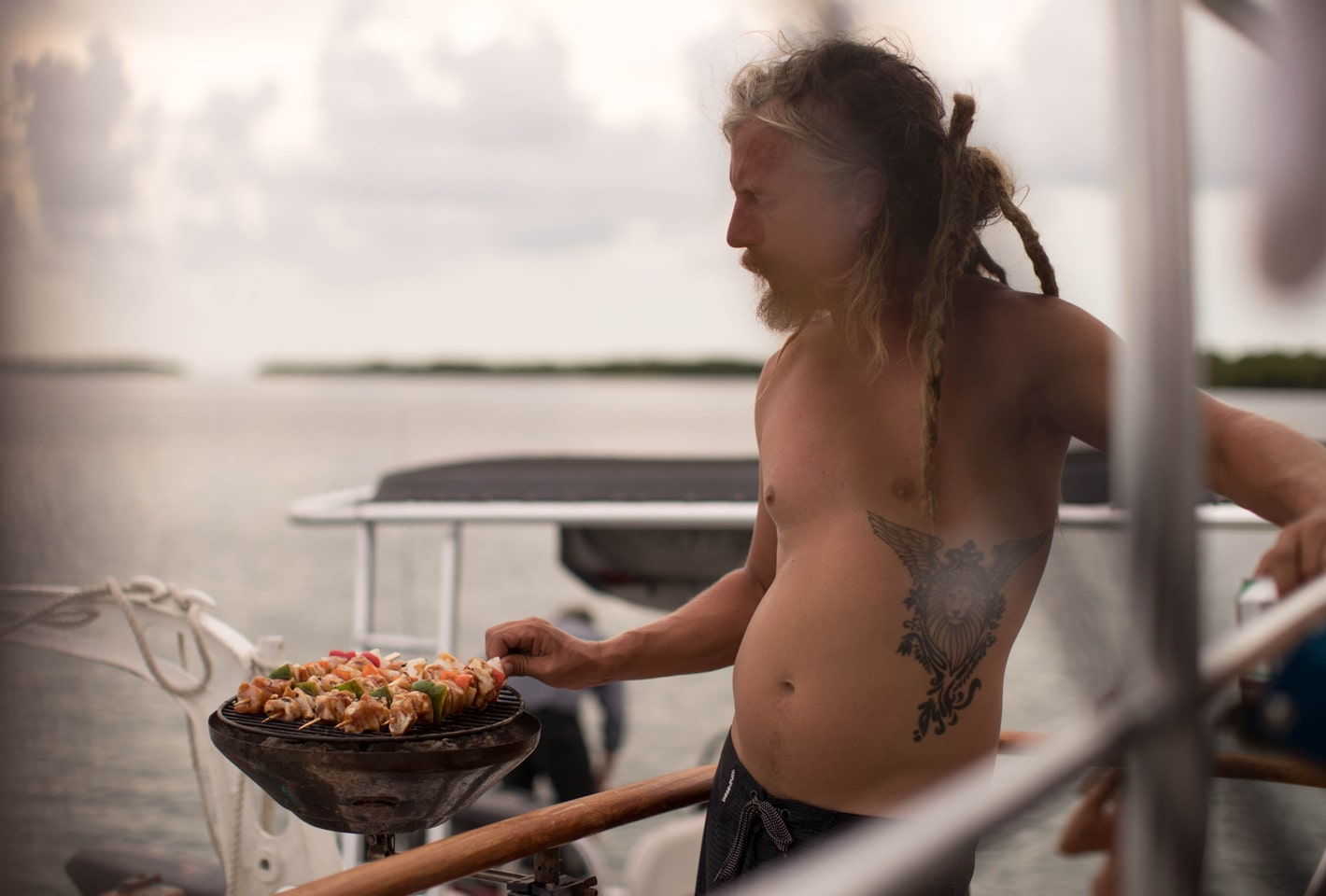 grilling kabobs offshore on a boat