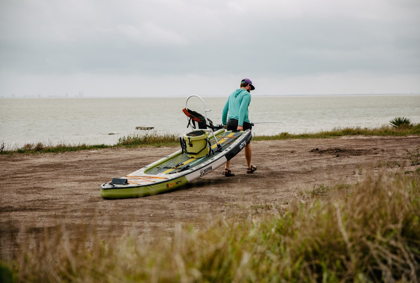 dragging BOTE inflatable rackham paddle board