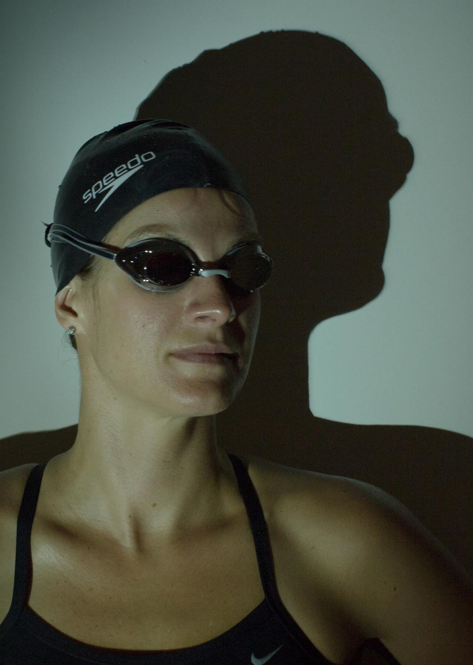 magda portrait with swim cap and goggles