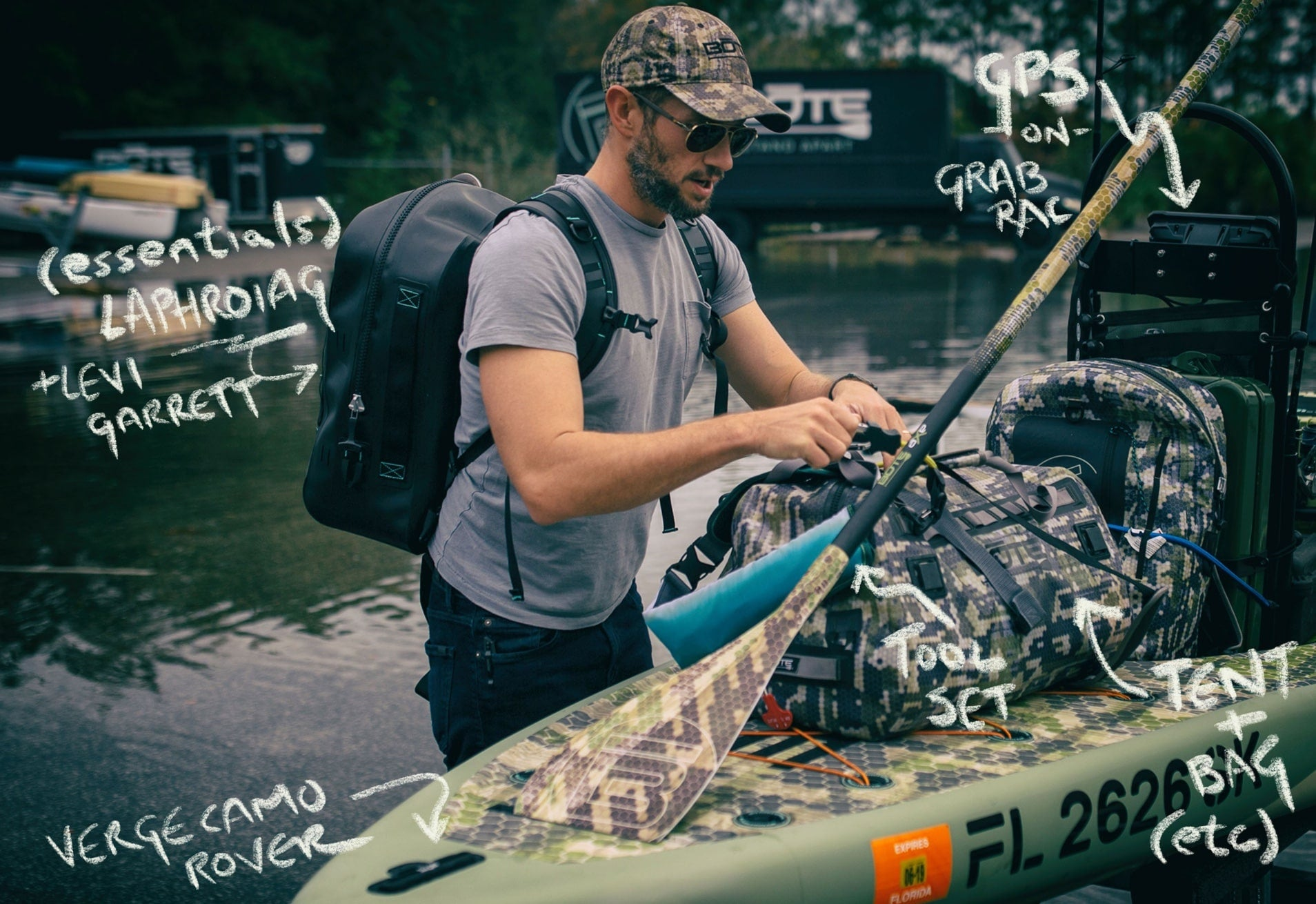 corey cooper loading up BOTE rover microskiff with gear