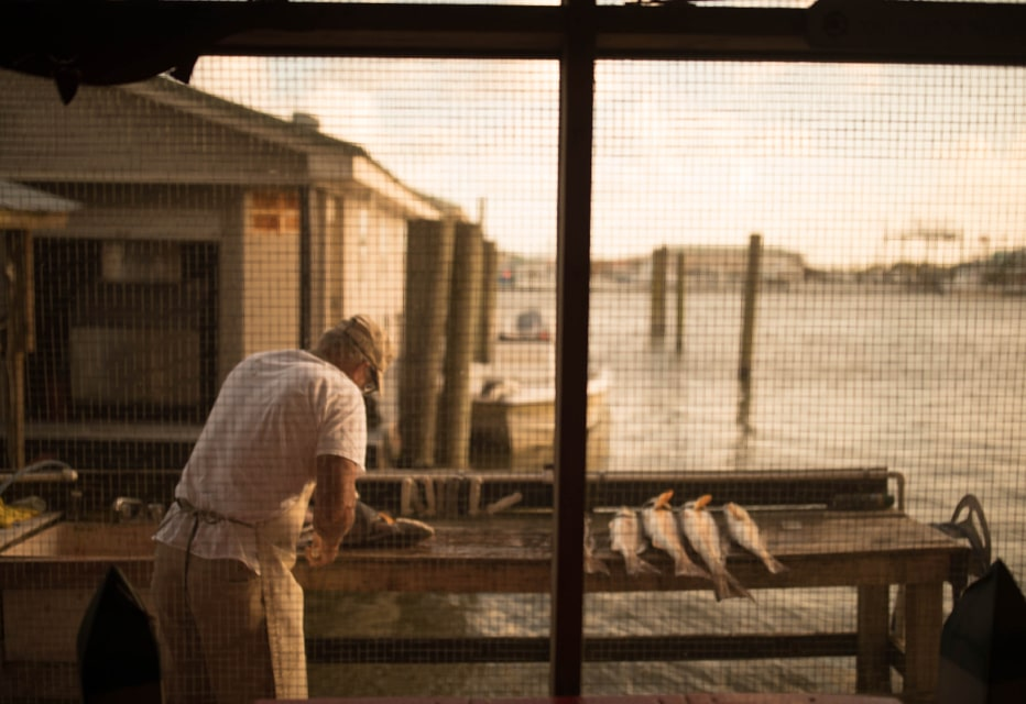 Redfish being prepped by local fishermen