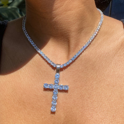 +MELROSE CRYSTAL CROSS TENNIS NECKLACE