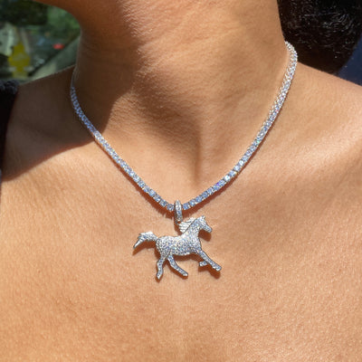 +STALLION CRYSTAL TENNIS NECKLACE