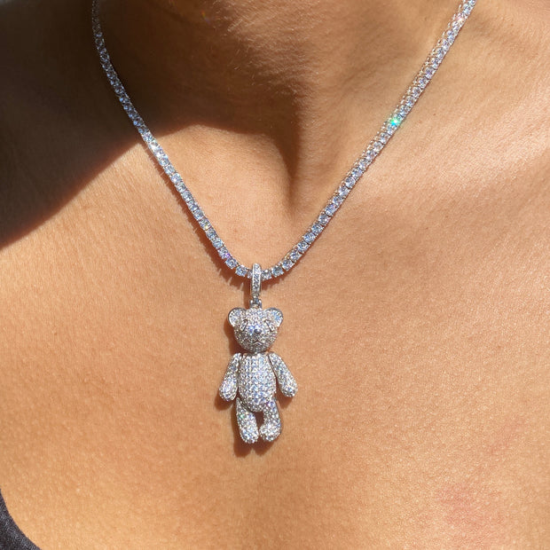 +CRYSTAL TEDDY TENNIS NECKLACE