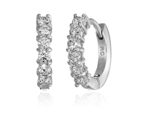 White Gold and Diamond Baby Hoop Earrings
