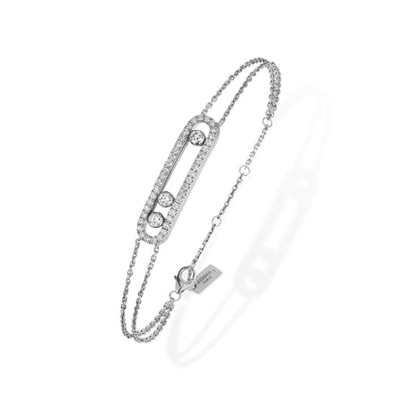Masai 18K White Gold and Diamond Small Three Station Bracelet