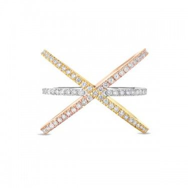 Yellow White Rose Gold Criss Cross Diamond Ring