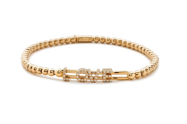"Tresore Rose Gold Diamond ""Love"" Bracelet"