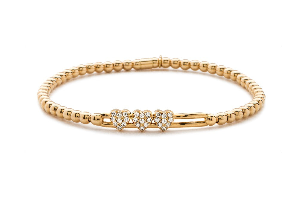 Tresore Rose Gold and Diamond Heart Bracelet