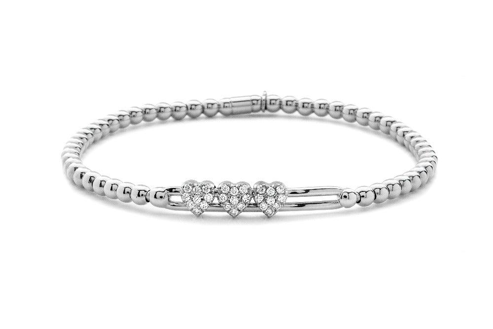 Tresore White Gold and Diamond Heart Bracelet