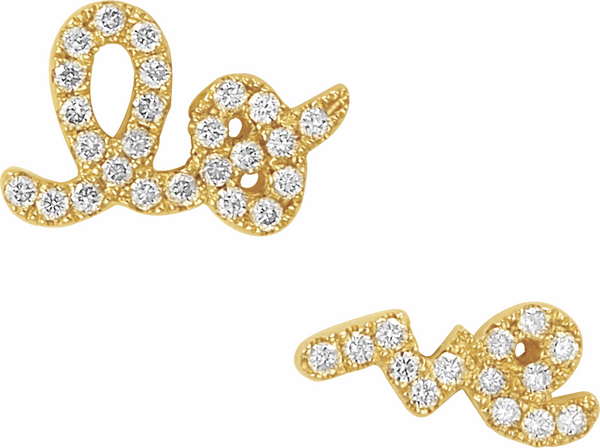 Gold and Pavé Diamond Love Stud Earrings