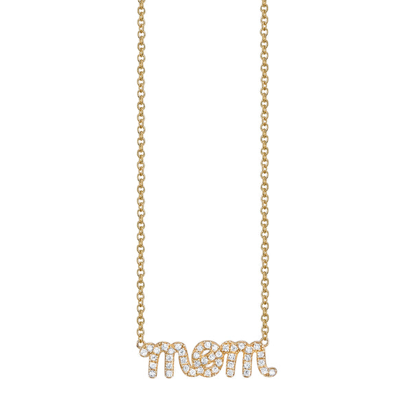 Yellow Gold & Diamond Mom Necklace