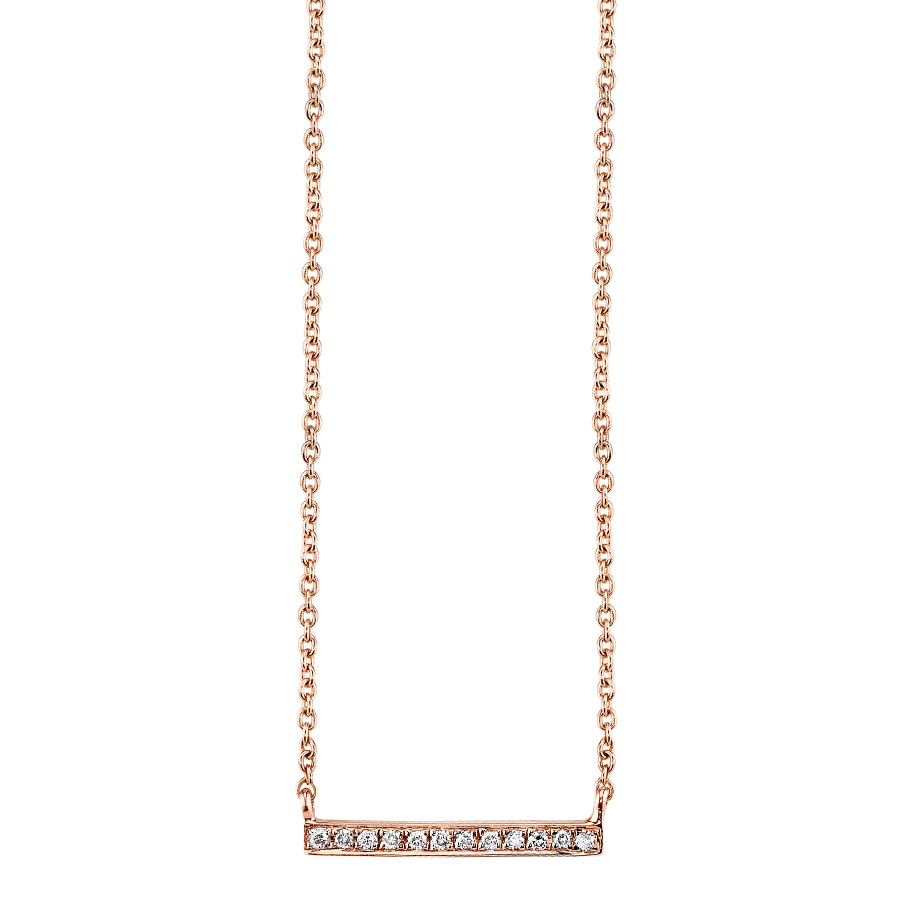 Diamond Bar Rose Gold Necklace