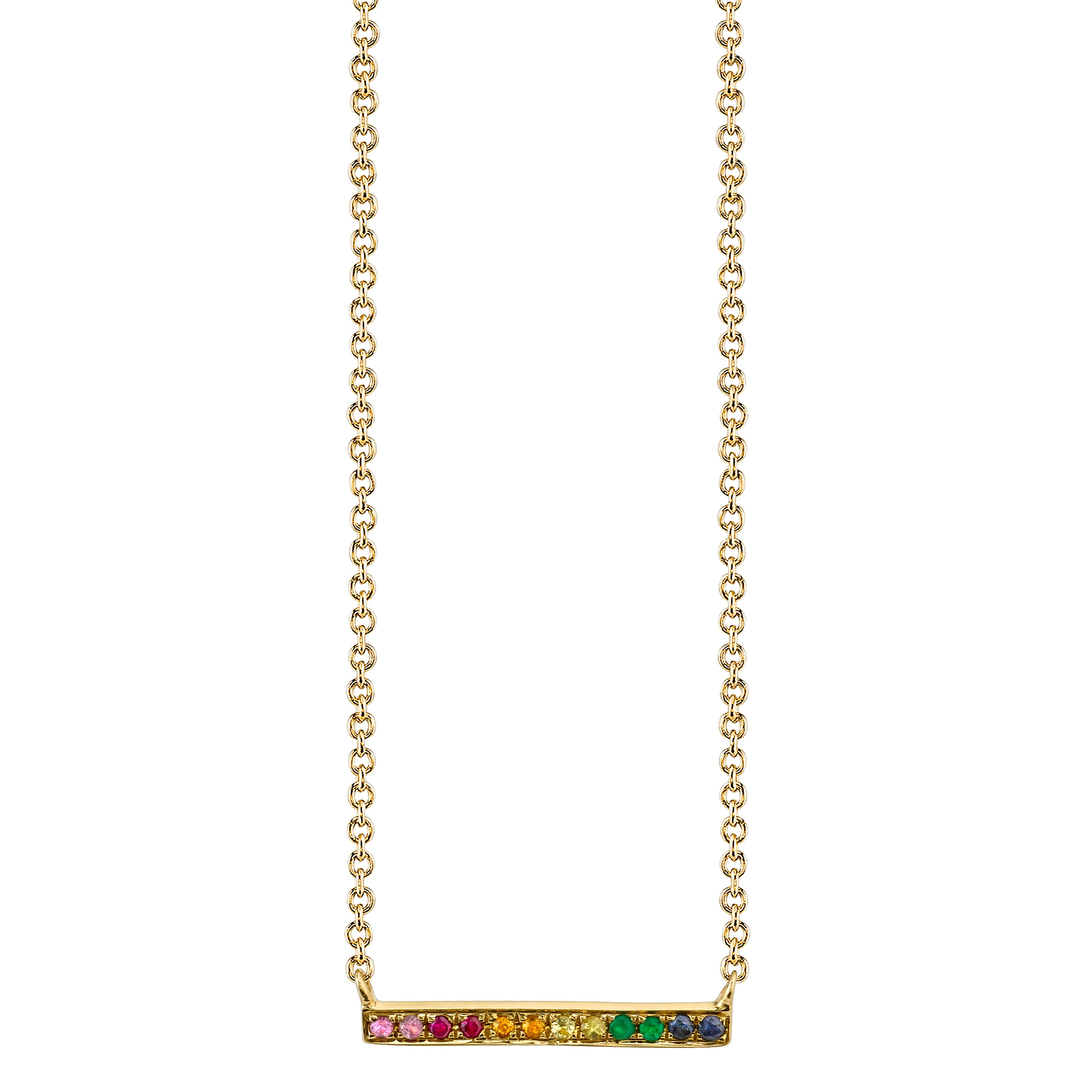 Rainbow Gemstones Bar Rose Gold Necklace