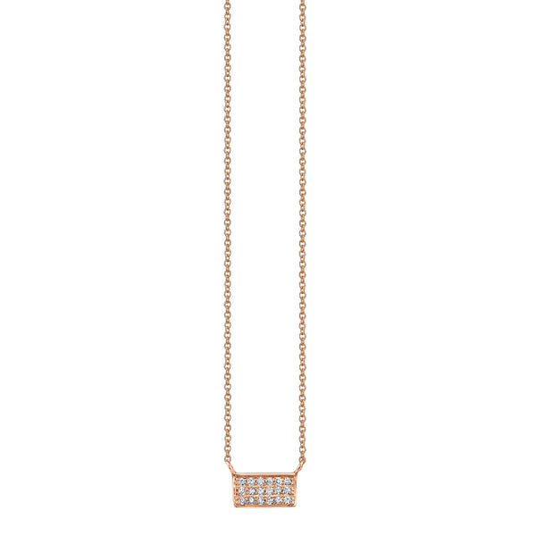 Diamond Small Bar Necklace in Rose Gold