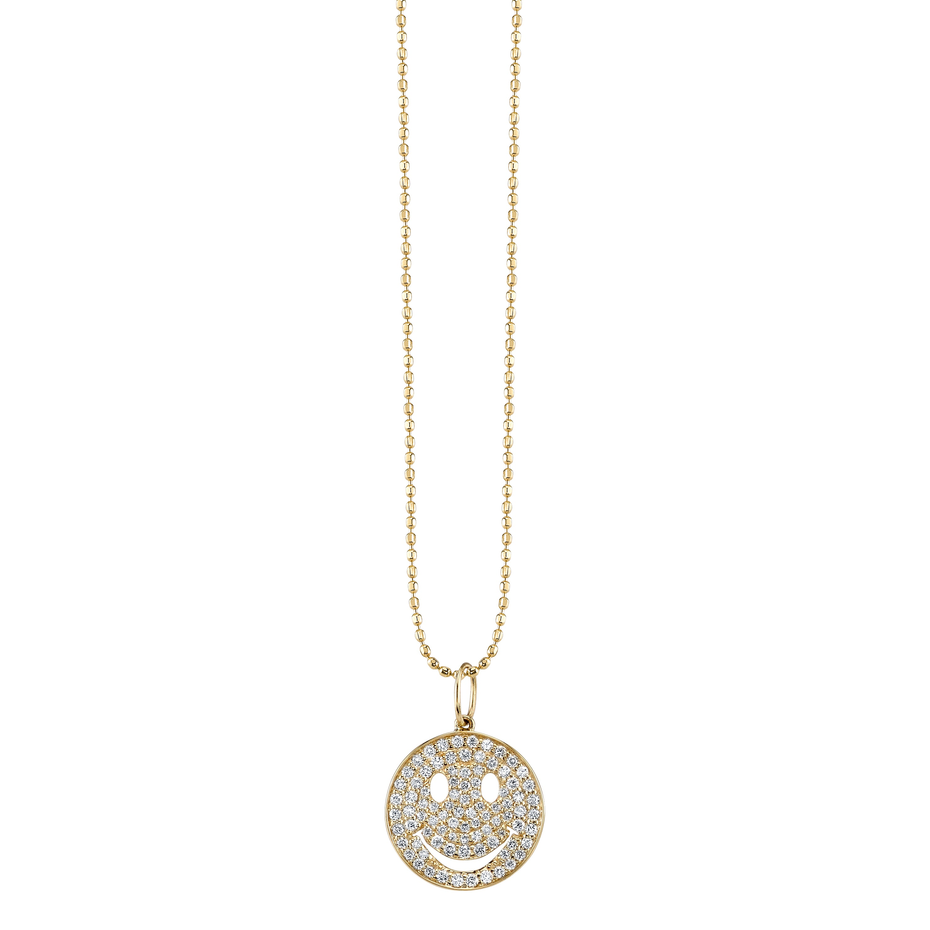 Medium Gold & Pavé Diamond Happy Face Necklace