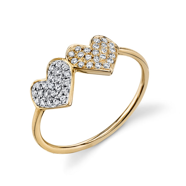 Gold & Pavé Diamond Double Heart Ring