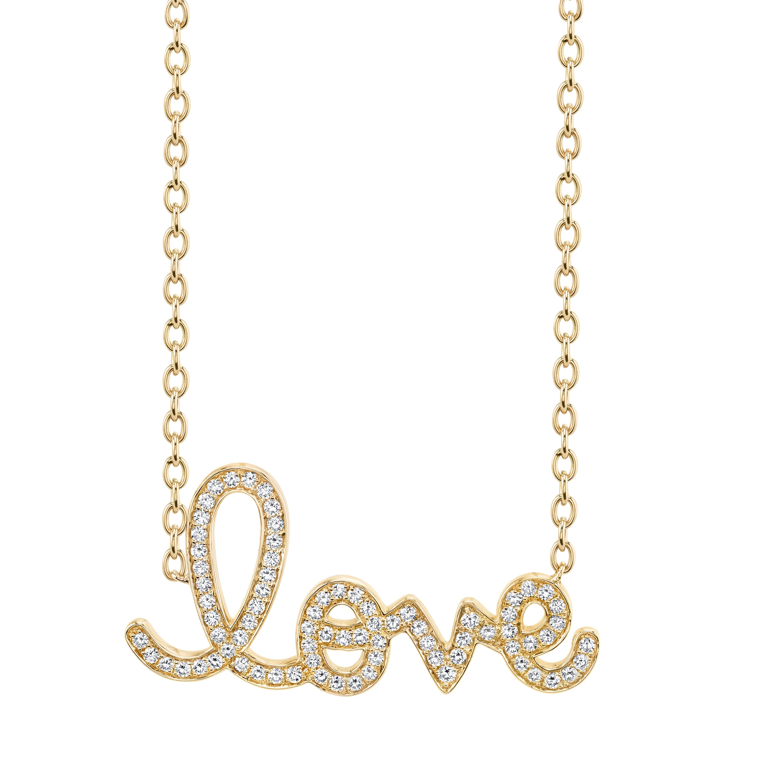 Medium Yellow Gold & Diamond Love Necklace
