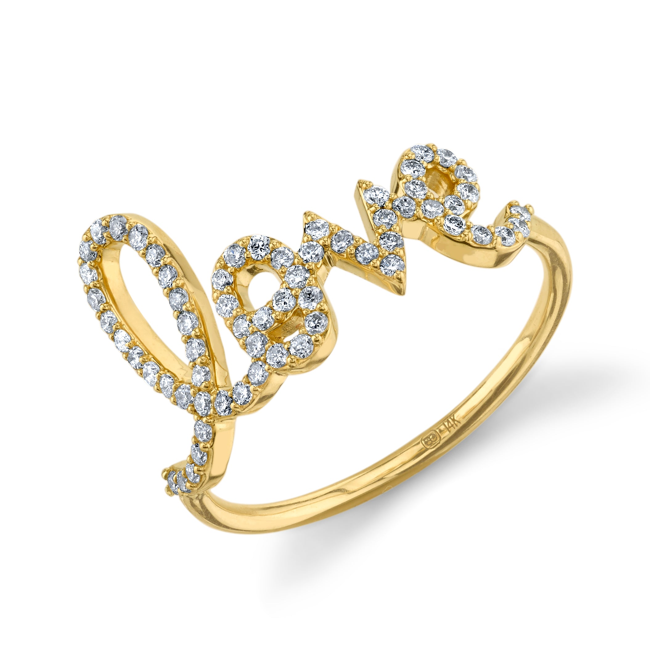 Yellow Gold & Pavé Diamond Large Love Ring