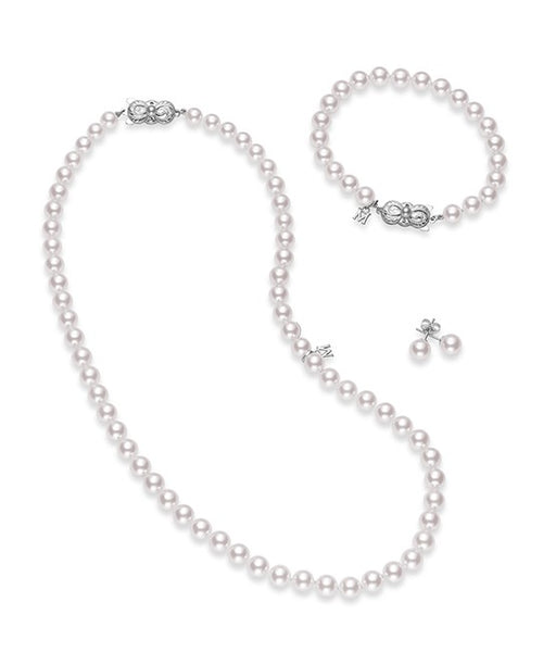 "18"" Akoya Cultured Pearl Three Piece Set – 18K White Gold Clasp"